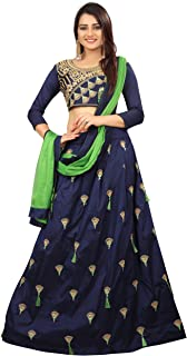 Ethnicset Women's Tappeta Silk Lehenga Choli (Blue, Free Size)