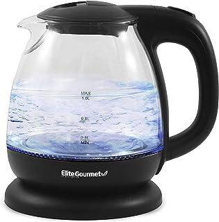 کتری شیشه ای Elite Gourmet EKT1001 برقی بدون BPA ، پایه بی سیم 360 درجه ، داخلی LED شیک آبی ، عملکرد خاموش کردن خودکار مفید - آب را به سرعت برای چای بجوشانید