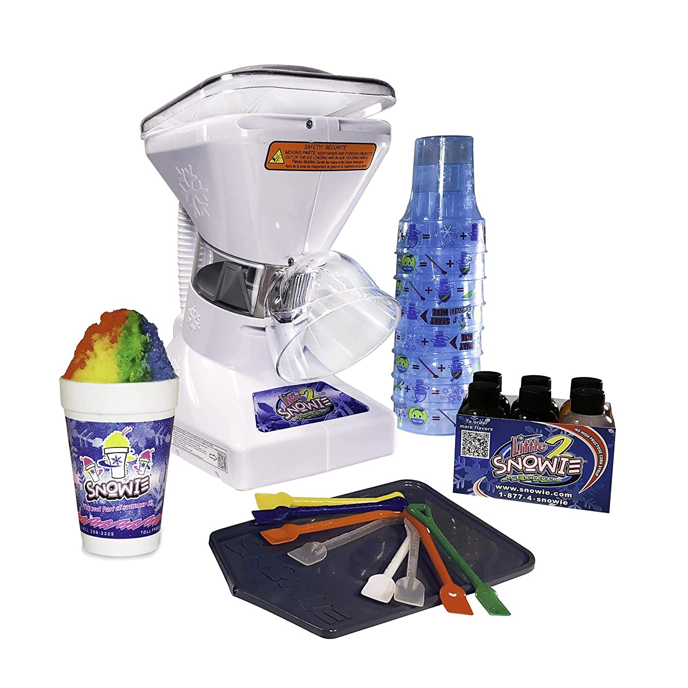 Little Snowie 2 Ice Shaver Bundle - Premium Shaved Ice Machine and Snow Cone Machine with Syrup Samples, Drip Pan, Souvenir Cups and Spoons