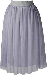 SYEEGCS Falda Tul Mujer Midi por Las Rodillas Elegante Fiesta Boda Princesa Cintura Elástica 3 Capas