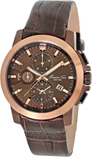 Kenneth Cole New York Men's Japanese Quartz Stainless Steel Case Leather Strap Brown,(Model:KC1884)