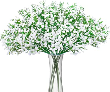 BOMAROLAN Artificial Baby Breath Flowers Fake Gypsophila Bouquets 12 Pcs Fake Real Touch Flowers for Wedding Decor DIY Home P
