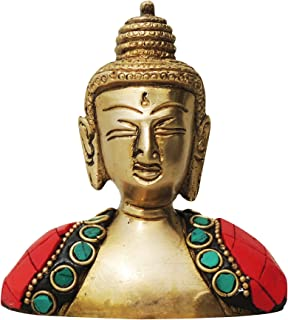 Brass Gift Center Buddha Statue with Turquoise Coral Stone finish Showpiece - 9 cm (Brass Multicolor)