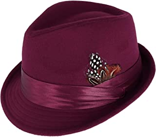 Men's Dressy Faux Felt Fedora with Removable Feather