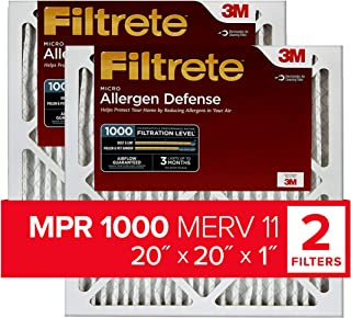 Best Filtrete 20x20x1, AC Furnace Air Filter, MPR 1000, Micro Allergen Defense, 2-Pack (exact dimensions 19.719 x 19.719 x 0.84) Review