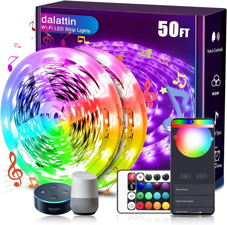 dalattin Smart Led Strip Lights Colorado Springs Mall WiFi Luxury 25ft 2 Rolls 50ft Comp of