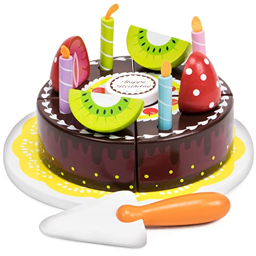 Happy Birthday Chocolate Party Cake With Candles Fruits Serving Tool And Tray By Imagination