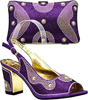 Silver Color Italian Ladies Shoes and Bag to Match Set Decorated with Rhinestone Nigerian Women Wedding