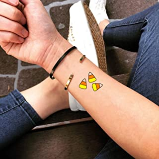 Candy Corn Temporary Fake Tattoo Sticker (Set of 2) - www.ohmytat.com