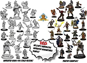 50 Random D&D Dungeons and Dragons Nolzur's Unpainted Player Character Miniatures with 6X 7-Dice & Pouch Sets Plus Golden Groundhog Glue and Treasure Box!