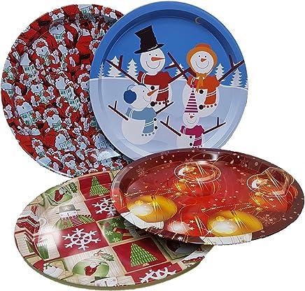 Preisvergleich für Land-Haus-Shop® Schickes Weihnachtsteller SET, 4x Weihnachts Advent Teller Metall 32cm, 4 Design
