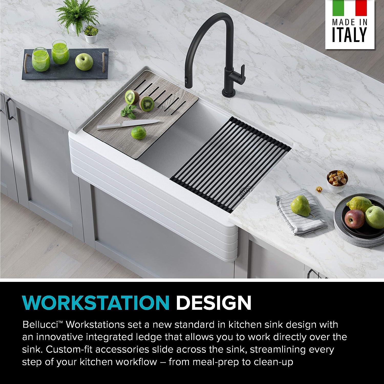 Buy Kraus Kgf11 33wh Bellucci Workstation Undermount Granite Composite Single Bowl Kitchen Sink With Accessories 33 Inch White Online In Vietnam B08gg6vbxc