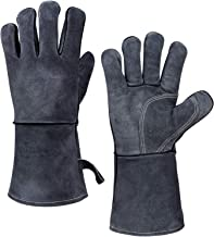 932°F Leather Heat Resistant Forge Welding Gloves Grill BBQ Glove with Flame Retardant Long Sleeve and Insulated Cotton for Men and Women (Gray,14-inch)