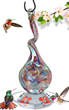 Grateful Gnome - Hummingbird Feeder - Hand Blown Glass - Gnarly Glass Neck Gourd - 16 Fluid Ounces