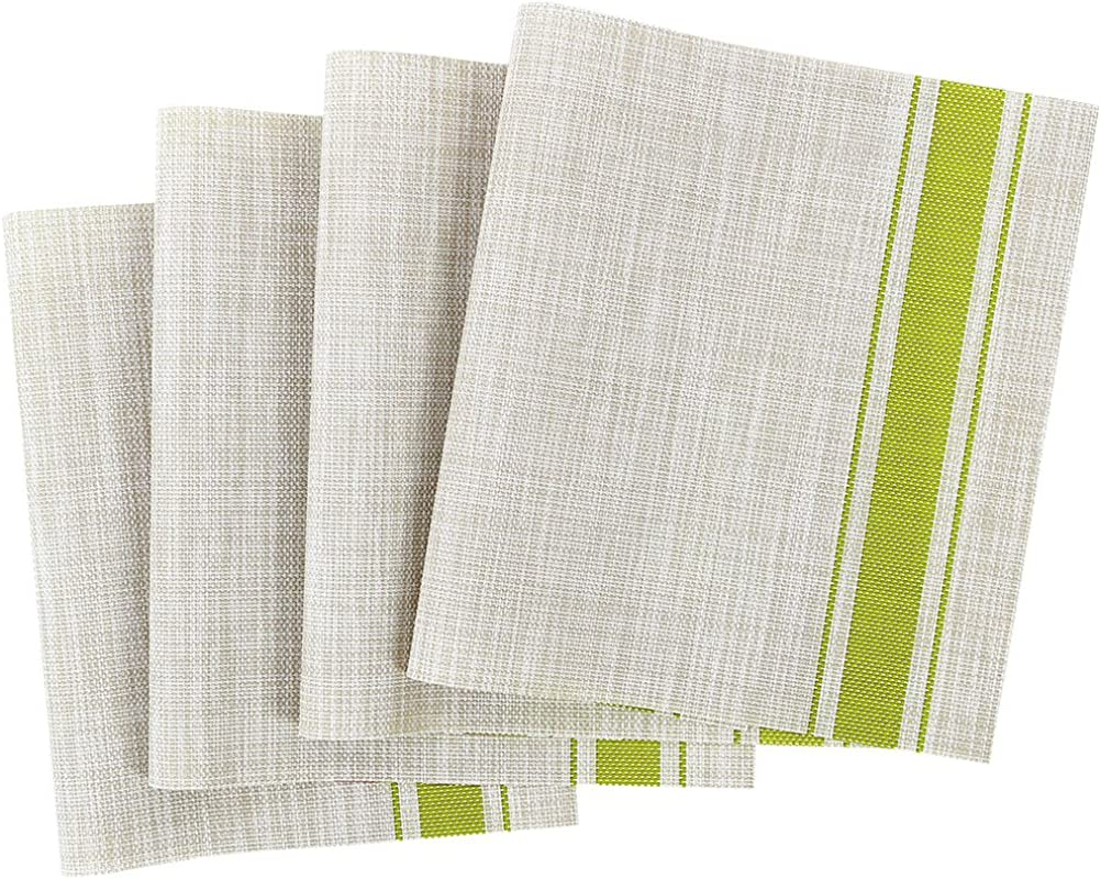 Uxcell Placemats Heat Insulated Place Mats Stain Resistant Anti Slip Washable PVC Table Mats Beige Green Strip 18 X 12 Inch Set Of 4
