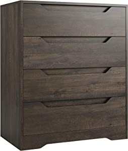 Modern 4 Drawer Dresser, Wood Chest of Drawers with Storage, Clothing Organizer with Cut-Out Handle, Storage Cabinet, Nightstand for Living Room, Bedroom, Hallway, Dark Brown