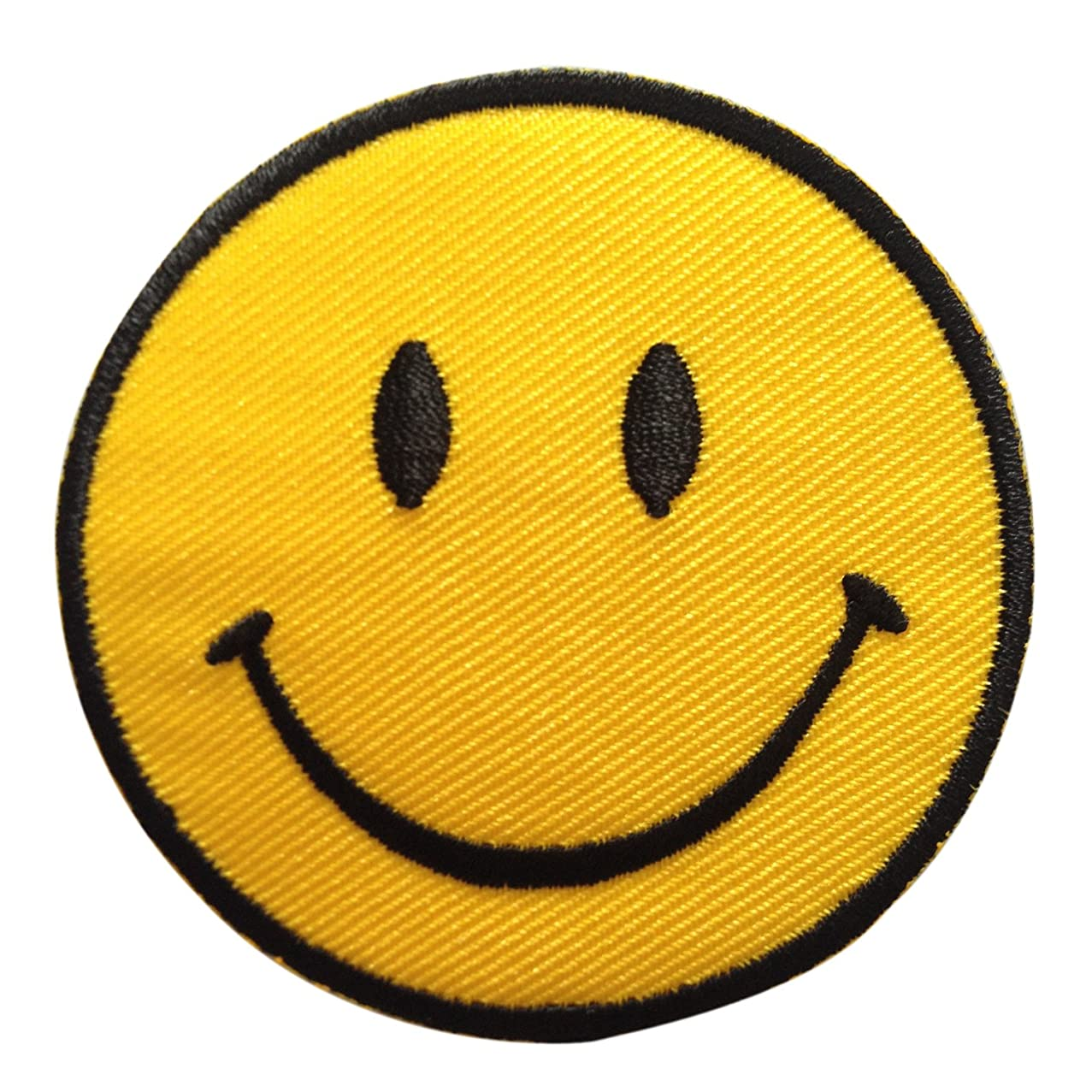 Smiley Happy Smile Face Yellow Iron on Patches Embroidered 3 X 3 Inches 1 Peice Per Order rjzjqifrqv022