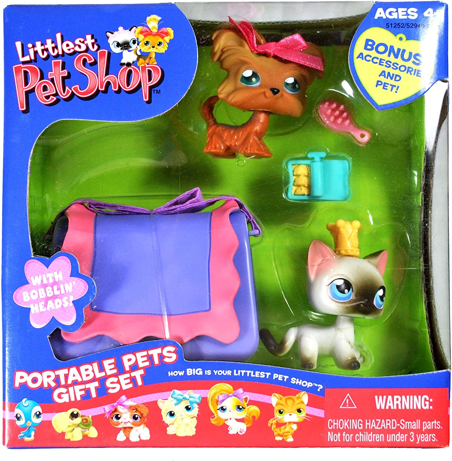 Hasbro Year 2006 Littlest Pet Shop Exclusive Portable Pets Bobble Head Figure Box Gift Set  Yorkshire Terrier Puppy Dog (Yorkie) with Pink Bow and Siamese Kitty Cat with Crown Plus Hairbrush, Can of Sardines and Cozy Carrier (51252)