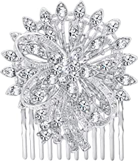 Flyonce Women's Crystal Wedding Bridal Flower Bowknot Hair Comb Clear Silver-Tone for Prom Banquet