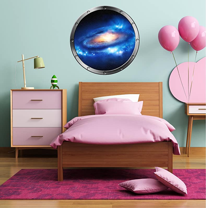 24 Porthole Instant Space Ship Window View Nebula Stars 1 Silver Wall Decal Kids Sticker Room Home Art D Cor Graphic Medium