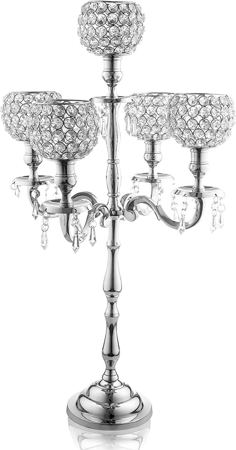 Klikel Heritage 5 Candle Silver Candelabra With Crystal Studded Globes And Hanging Crystal Drops - Elegant Wedding Party Centerpiece - 24 Inch, Nickel Plated Aluminum, Acrylic Crystal Dangles And Ball