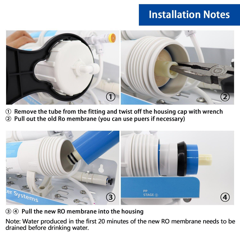 HiKiNS 1812-100 GPD RO ósmosis inversa Membrana hogar purificador ...