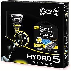 Wilkinson Sword Pack Hydro 5 Sense - Máquina De 5 Hojas + 4 Cuchillas De Recambio
