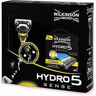 Wilkinson Sword Pack Hydro 5 Sense - Kit Con Máquina De Afeitar Recargable De 5 Hojas Con Gel Hidratante Para Hombre + 4 C...