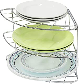 Simple Houseware 3-Tier Counter Corner Shelf Organizer, Chrome