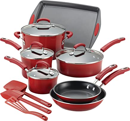 Rachael Ray Hard Porcelain Enamel Nonstick Cookware Set, 14-Piece, Red Gradient