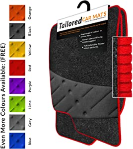 Fully Tailored Car Mats Weld Wide Heel Pad Anthracite Carpet Red Ribbed Trim Black Heel Pad Car Mats