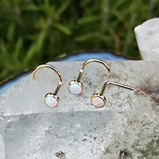 Nose Ring Stud - Cartilage Tragus Earring - 14K Yellow/Rose Gold Filled - 3mm White Opal - 20G or 18G