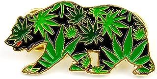 Various Dab Stoner Graffiti Novelty Enamel Pin Hip Hop Weed Culture Hat Trippy Pins (CA Leaf Bear)