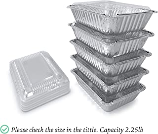 55Pack - 2.25 LB Aluminum Pans with Lids/Aluminum Food Containers/Foil Pans With Plastic Lids I Disposable Aluminum Pans I Foil Trays From Spare 2.25 Lb Capacity 8.5