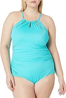 Coastal Blue- Traje de baño completo, talla plus, para mujer