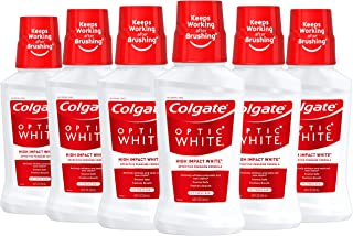 Colgate オプティックホワイトホワイトニングマウスウォッシュ、アイシーミント、8液量オンス(6パック)