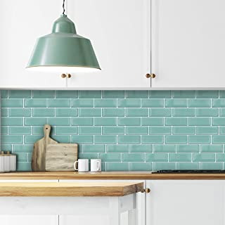 WALPLUS Green Sea Glossy 3D Metro 12 Sheets Sticker Tiles 30cmx15cm Contemporary Eclectic Wall Peel and Stick Spring Easte...