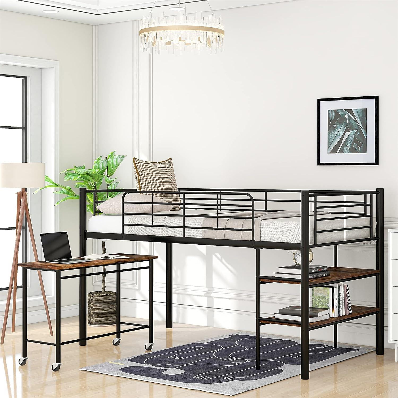 完売 Twin Loft Bed with ストア Shelves Desk Metal 2-Tier