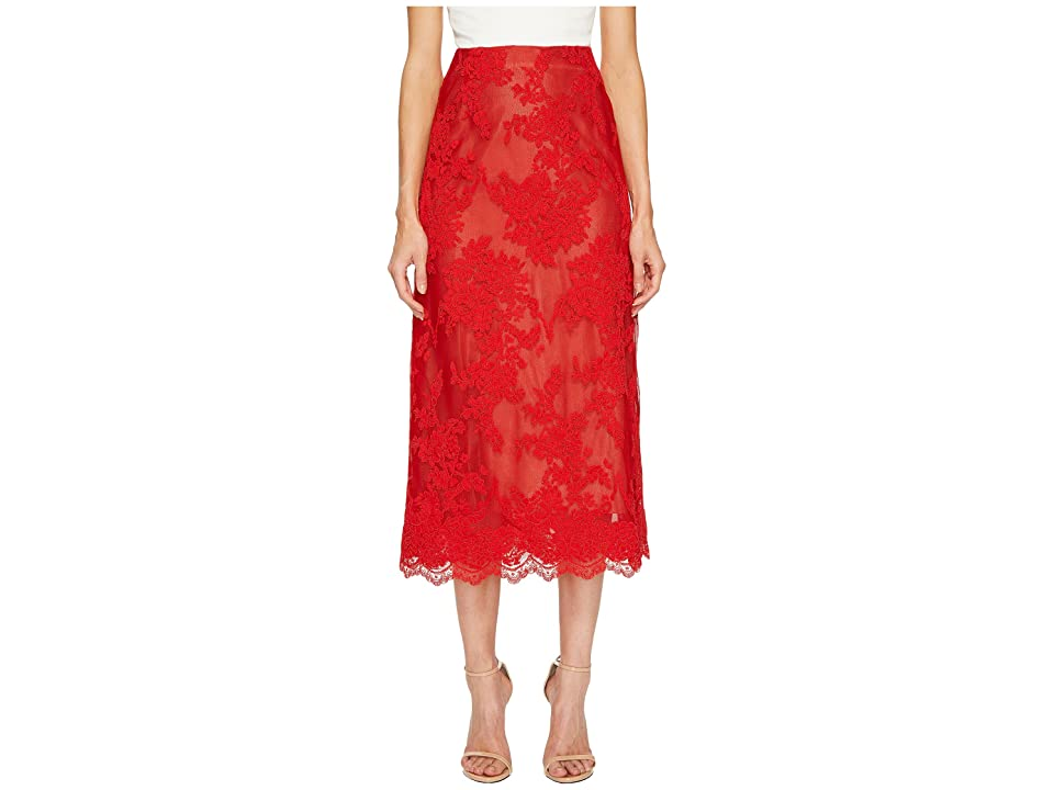 Marchesa Corded Lace Tea Length Skirt (Red) Women's Skirt