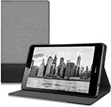 kwmobile Case Compatible with Huawei MediaPad T3 8.0 - PU Leather and Canvas Cover with Stand Feature - Grey/Black