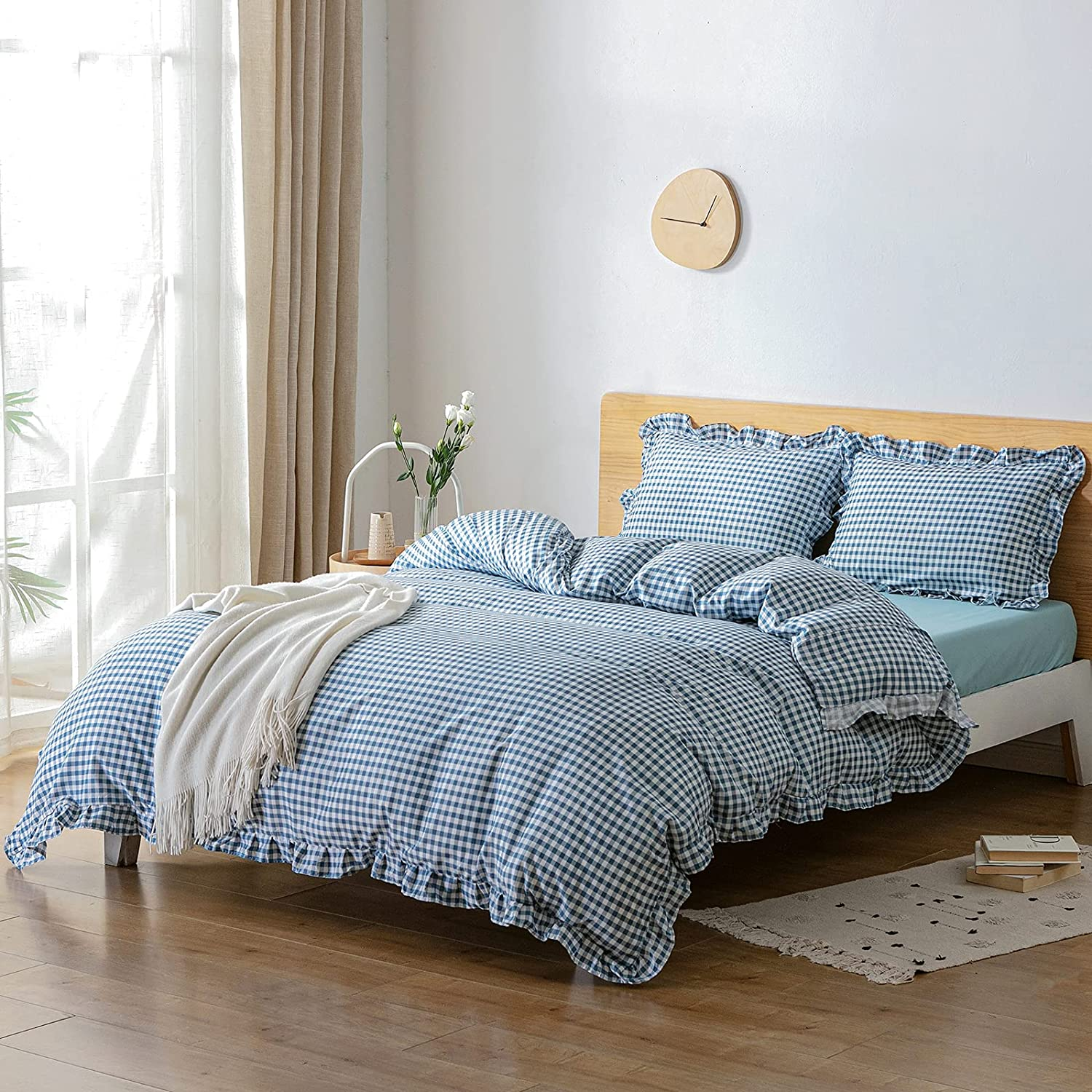 OFFicial site Argstar 3 Pcs Blue and White Plaid Reservation Duvet Ruffled Cover King Size