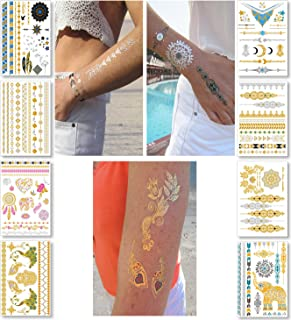 Metallic Temporary Tattoos for Women Teens Girls - 8 Sheets Gold Silver Temporary Tattoos Glitter Shimmer Designs Jewelry Tattoos - 100+ Color Flash Fake Waterproof Tattoo Stickers (Aruba)