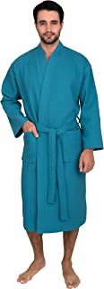 Men's Waffle Bathrobe Turkish Cotton Kimono Robe