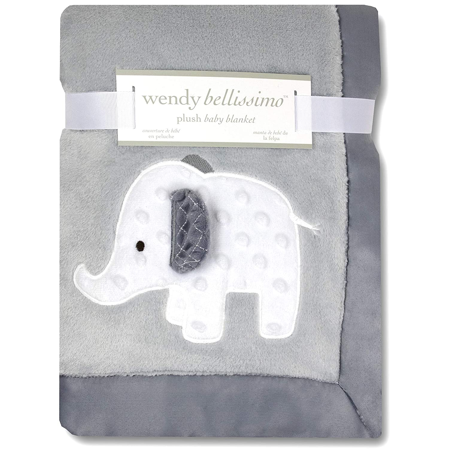 Supersoft Luxurious White Polkadots Grey Elephants Pram or Crib Wrap//Blanket