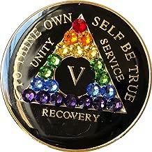 AA Medallion Year 1-45 Black Tri-Plate Swarovski Crystal Rainbow Chip