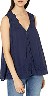 Lucky Brand Women's Scallop Embroidered Tank Top