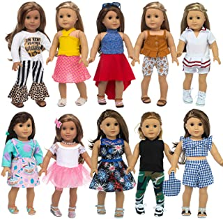 XFEYUE 22 Pcs 18 inch Doll Clothes Gifts and Accessories, Fit American 18 inch Girls Doll - Including 10 Sets of Various S...