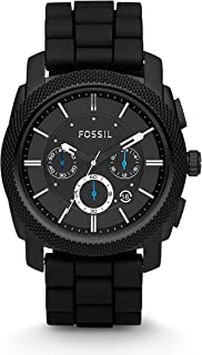 Fossil Men's FS4487 Machine Chronograph Silicone Watch, Black