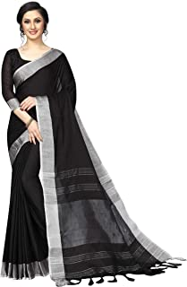 PERFECTBLUE Women`s Linen saree with Blouse Piece(LinenPlain1)
