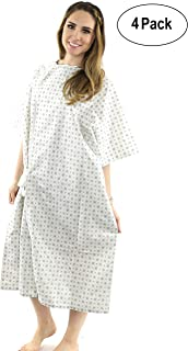 """Hospital Gown (4 Pack) Cotton Blend, Useful, Fashionable Patient Gowns, Back Tie, 46"""" Long & 66"""" Wide, Fits All Sizes to 2XL Sizes Fit Comfortably - Hospital Gown (4 Pack)"""